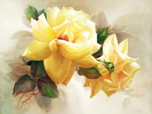 алмазная мозаика желтые розы