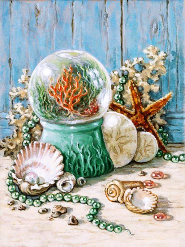 картина алмазной вышивки дары океана