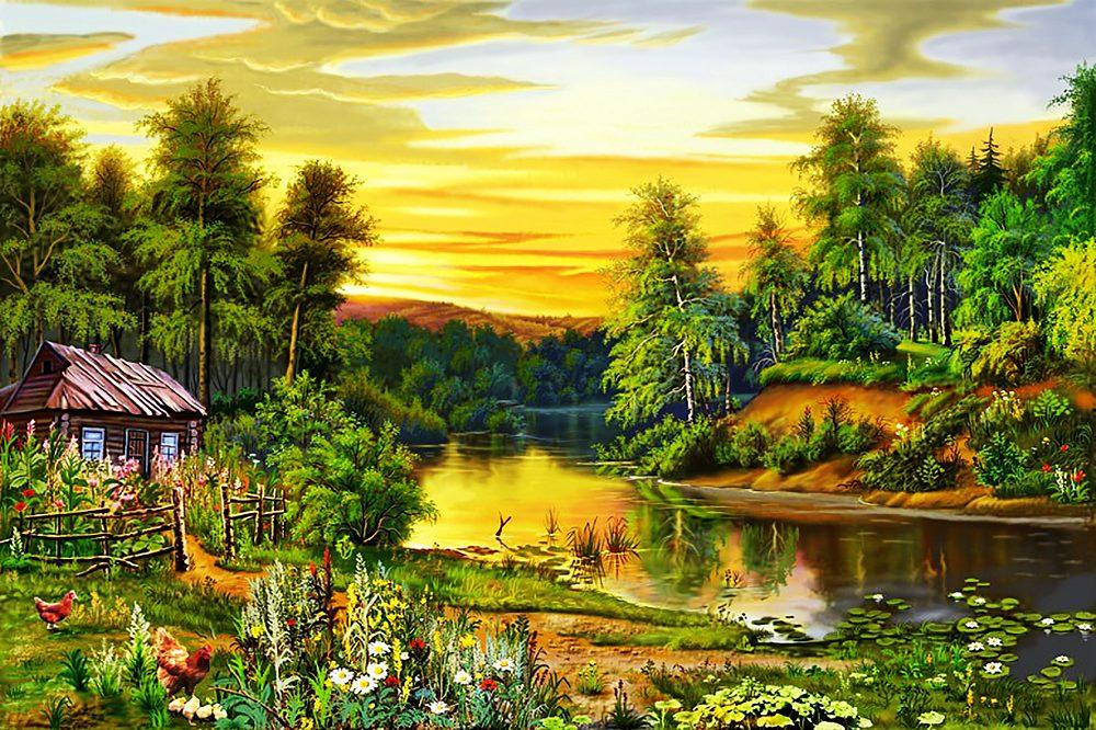Открытка летний пейзаж