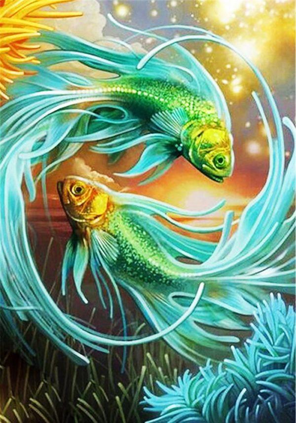 """Набор алмазной вышивки """"Символ гармонии и любви - золотые рыбки"""""""