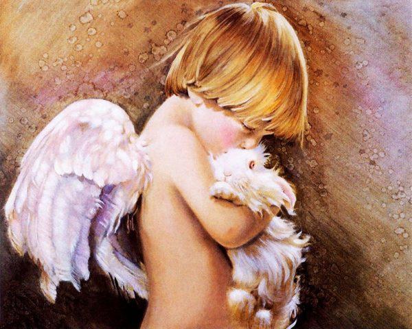 """Набор алмазной вышивки """"Ангелочек с кроликом"""""""