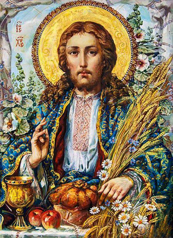 """Набор алмазной вышивки (мозаики) икона """"Иисус Христос с колосьями"""""""