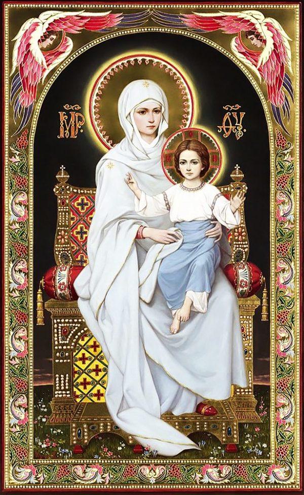 """Набор алмазной вышивки икона """"Богородица на престоле"""""""
