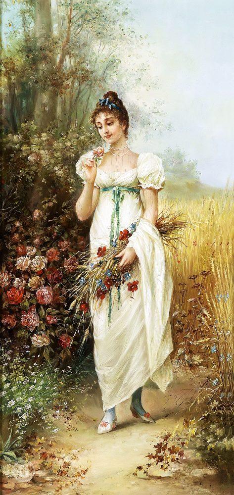 """Набор алмазной вышивки """"Девушка с луговыми цветами и розами"""""""