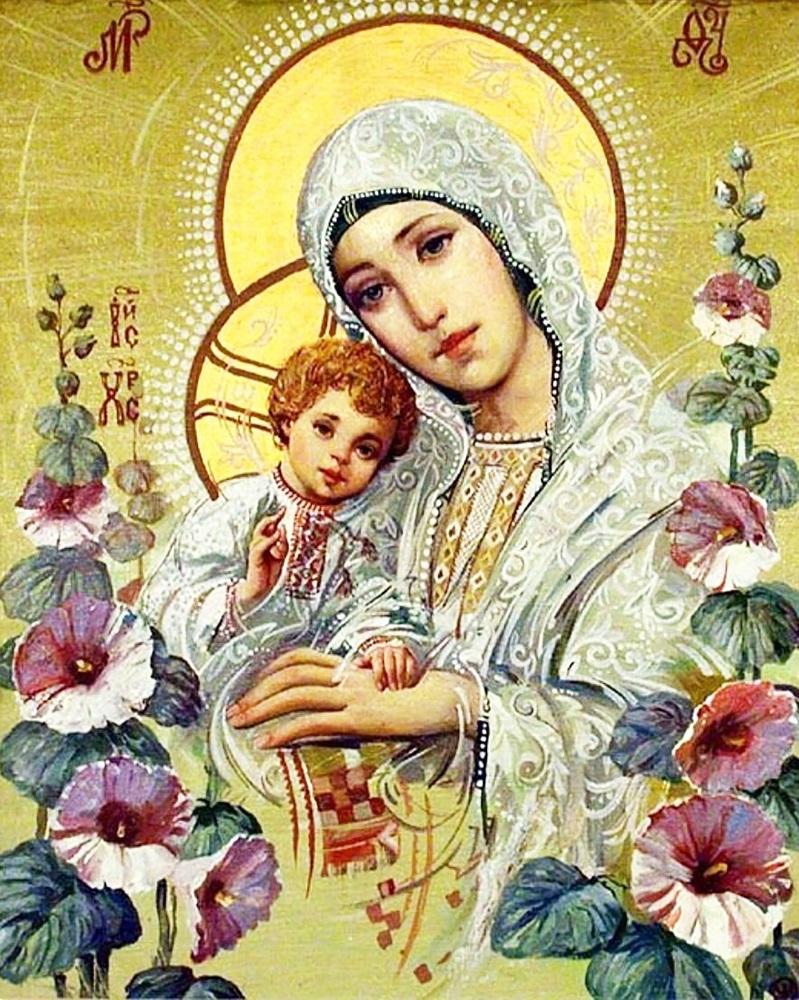"""Набор для рисования картин по номерам (раскраска) икона """"Богородица с Иисусом"""" - Чарівний діамант"""