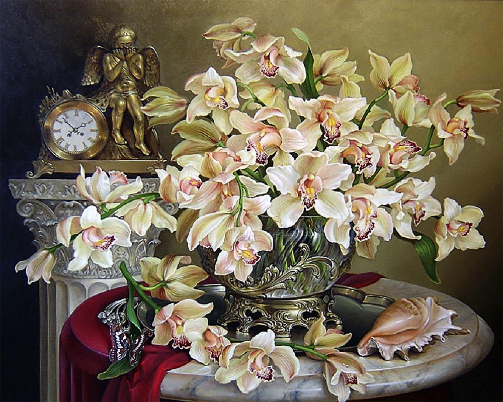 """Набор для рисования картин по номерам (раскраска) """"Великолепие орхидей"""" - Чарівний діамант"""