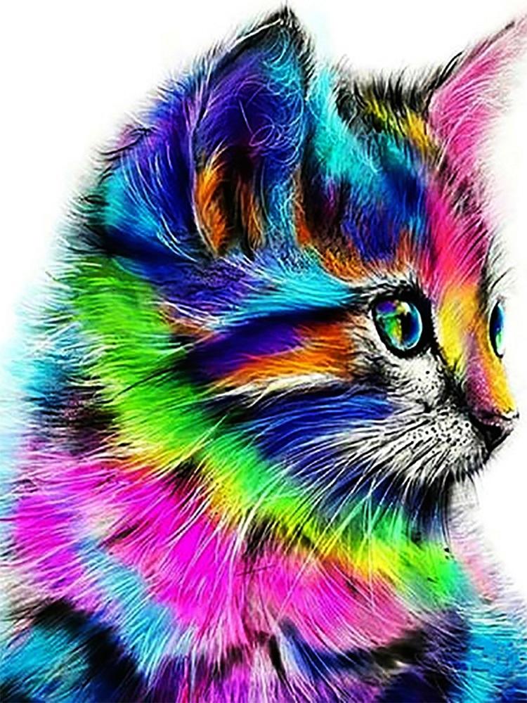 "Набор для рисования картин по номерам (раскраска) ""Радужный котик"" - Чарівний діамант"