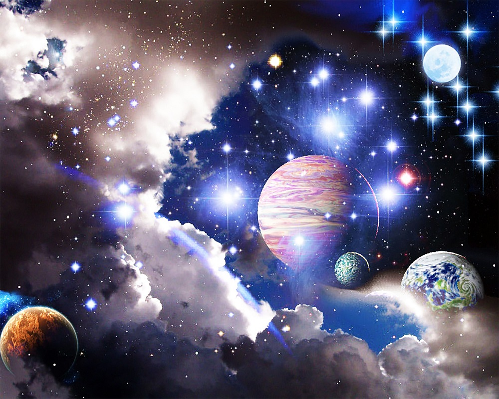"""Набор для рисования картин по номерам (раскраска) """"Вселенная - Космос"""" - Чарівний діамант"""
