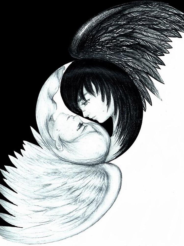 """Набор для рисования картин по номерам """"Символ любви - Инь и Янь"""" - Чарівний діамант"""