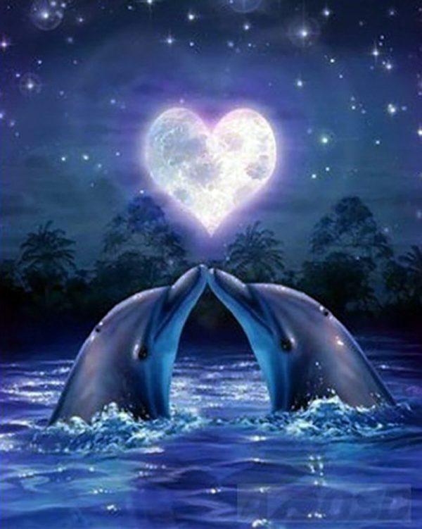 """Набор алмазной вышивки """"Влюбленные дельфины"""""""