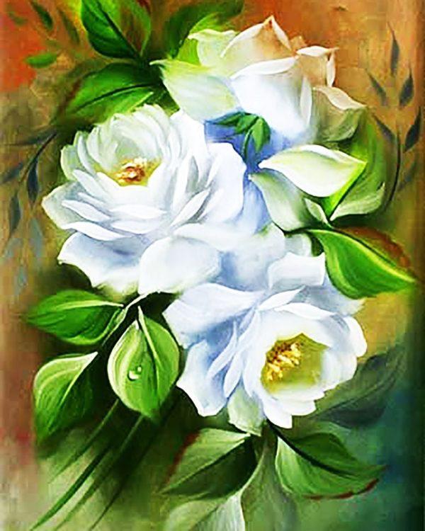 """Набор алмазной вышивки мозаики """"Белые розы-3"""""""