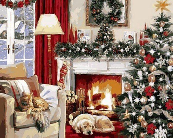 """Набор алмазной вышивки мозаики """"Рождественский вечер"""""""