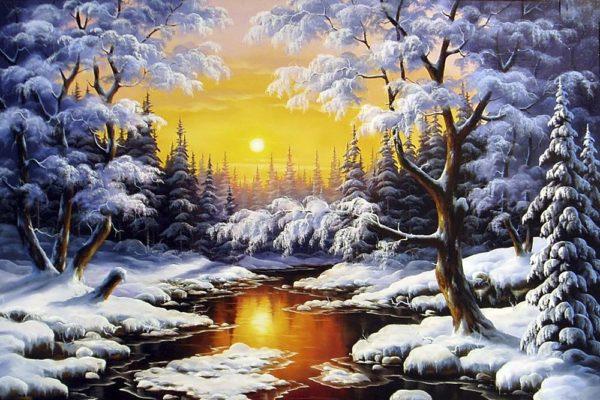 """Набор алмазной вышивки мозаики """"Зимний лес"""""""