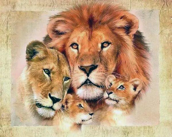"""Набор алмазной вышивки """"Семья львов - Любовь и Защита"""""""
