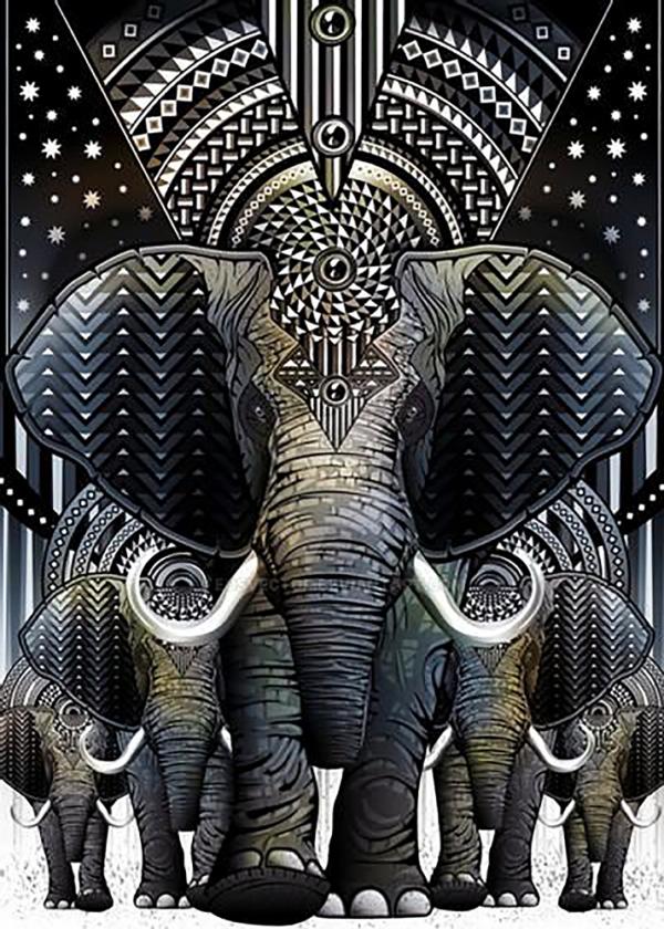 """Набор алмазной вышивки """"Слоны - Символ мудрости, богатства и счастья"""""""