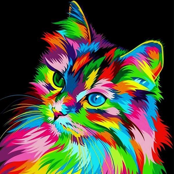 """Набор для рисования картин по номерам """"Радужный котик"""""""